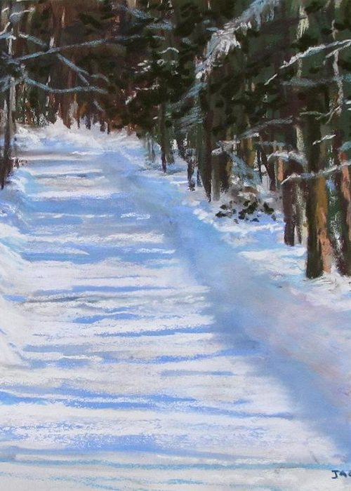 Snow Greeting Card featuring the painting The Valley Road by Jack Skinner