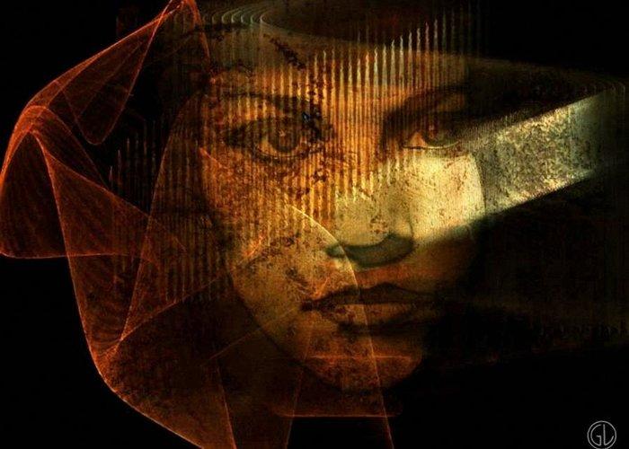 Woman Greeting Card featuring the digital art The Veil by Gun Legler
