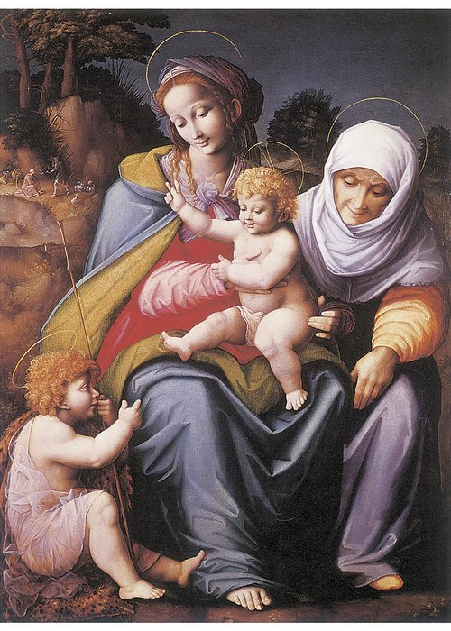 Bachiacca Greeting Card featuring the painting The Virgin And Child by Bachiacca