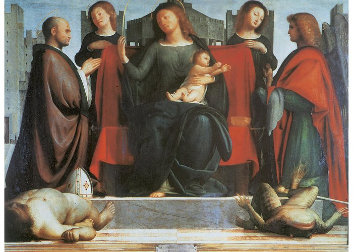 Bramantino Greeting Card featuring the painting The Virgin And Child Enthroned by Bramantino
