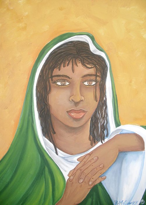 Jesus Greeting Card featuring the painting The Virgin Mary by Mccormick Arts