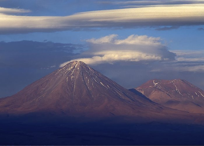 Volcano Greeting Card featuring the photograph The Volcano Llicancabur. Republic Of Bolivia. by Eric Bauer