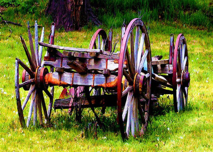 Wagon Greeting Card featuring the photograph The Wagon At El Prado by Terry Fiala