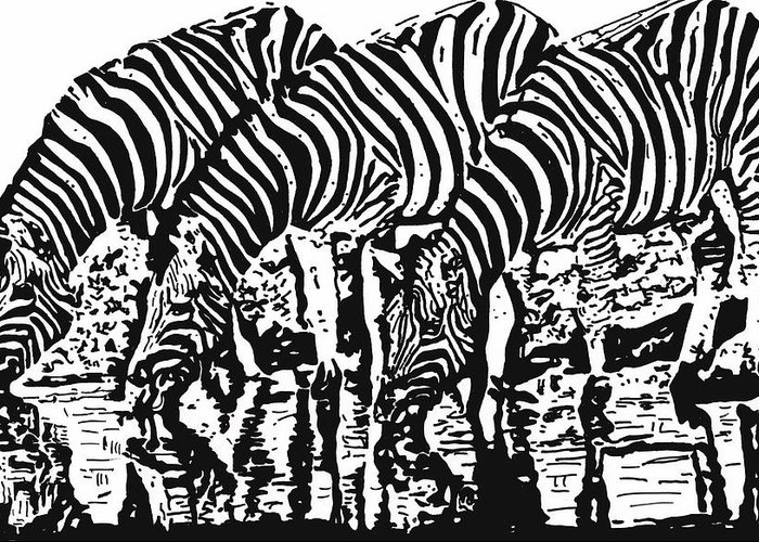 Zebras Greeting Card featuring the drawing The Watering Hole.. by Lori Jackson