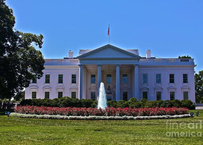 President Obama Greeting Card featuring the photograph The White House - No. 0341 by Joe Finney