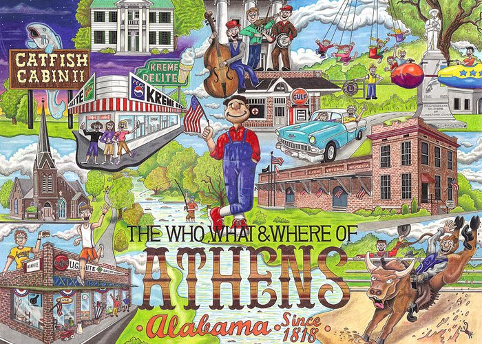 Athens Greeting Card featuring the drawing The Who What And Where Of Athens Alabama by Shawn Doughty