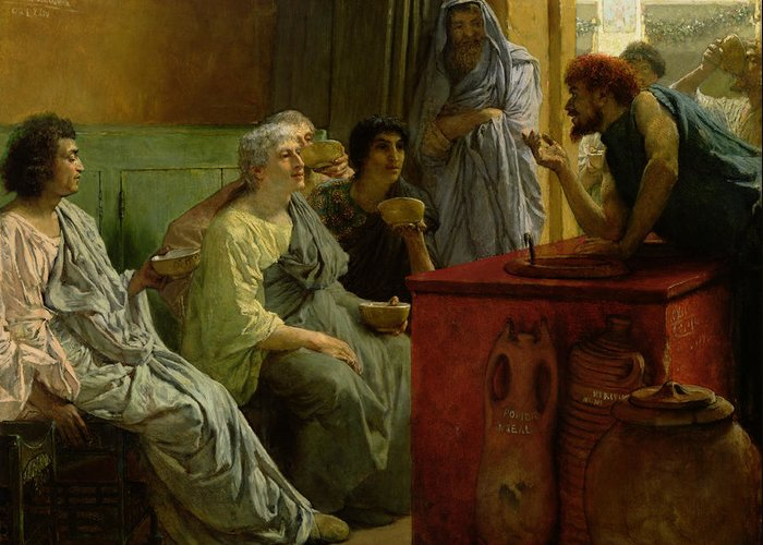 The Greeting Card featuring the painting The Wine Shop by Sir Lawrence Alma-Tadema