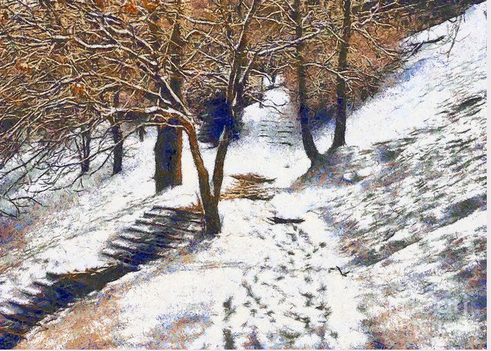 Odon Greeting Card featuring the painting The Winter Park by Odon Czintos