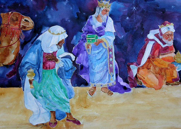 Three Wisemen Greeting Card featuring the painting The Wisemen by Suzy Pal Powell