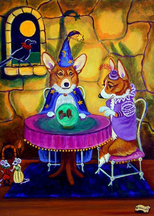 Pembroke Welsh Corgi Greeting Card featuring the painting The Wizard Of Pembroke - Welsh Corgi by Lyn Cook