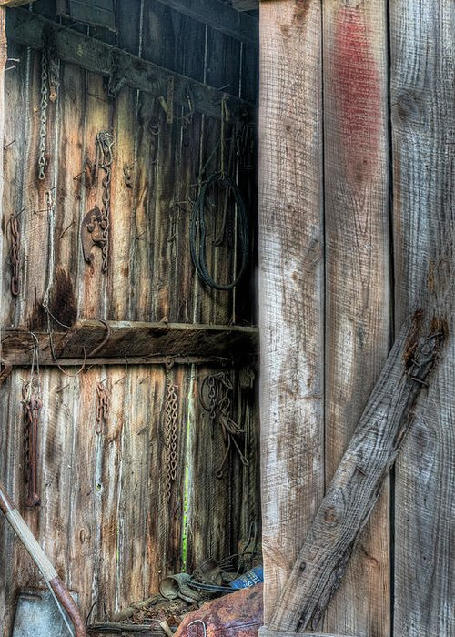 The Wood Shed Greeting Card featuring the photograph The Wood Shed by JC Findley