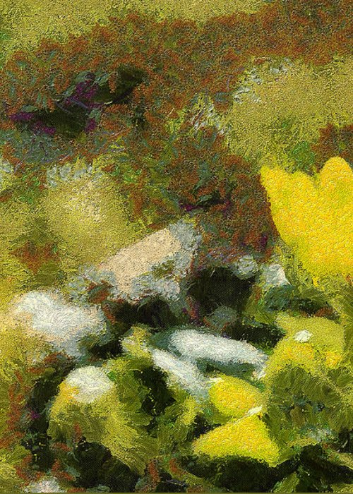 Odon Greeting Card featuring the painting The Yellow Flower by Odon Czintos