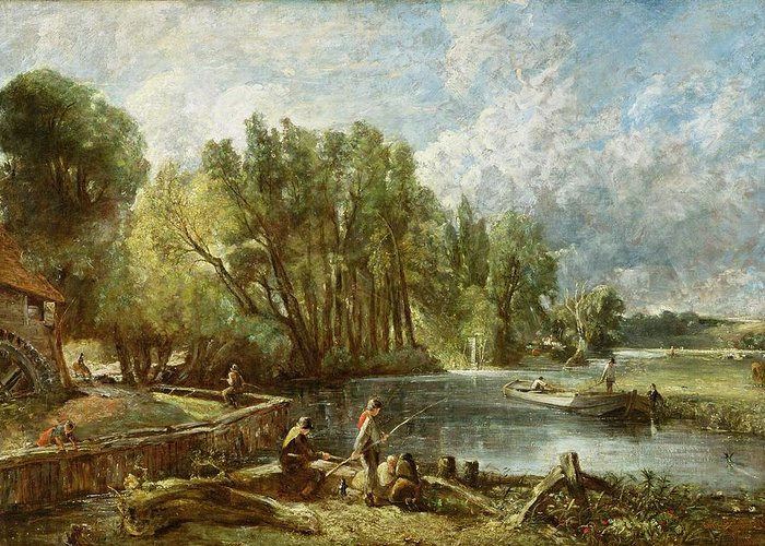 The Greeting Card featuring the painting The Young Waltonians - Stratford Mill by John Constable