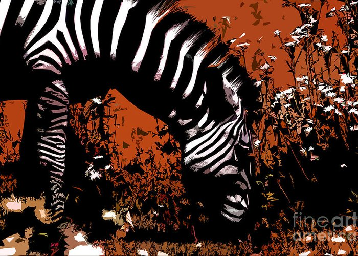 Zebra Greeting Card featuring the digital art The Zebra by Jared Theberge