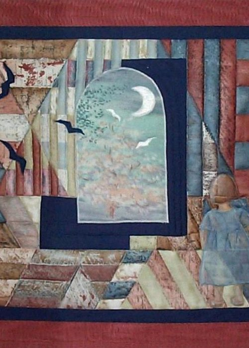 Collage Greeting Card featuring the tapestry - textile There Is A Place... by Gun Legler