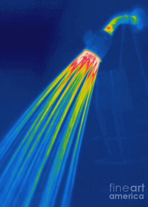 Thermogram Greeting Card featuring the photograph Thermogram Of A Shower Head by Ted Kinsman