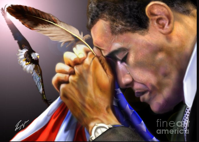 American Flag Greeting Card featuring the painting They Shall Mount Up With Wings Like Eagles - President Obama by Reggie Duffie