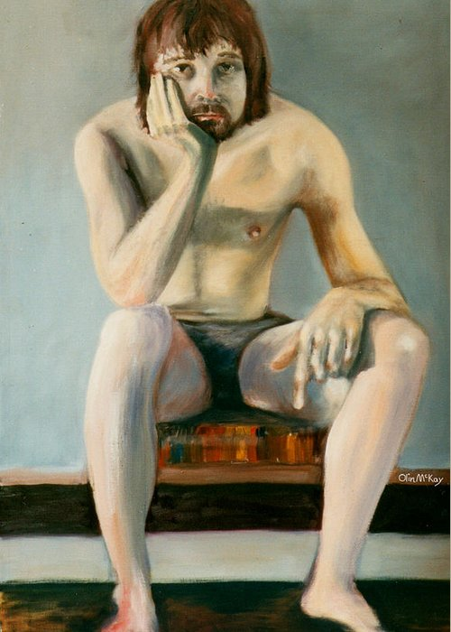 Oil Painting Greeting Card featuring the drawing Thinking Guy by Olin McKay