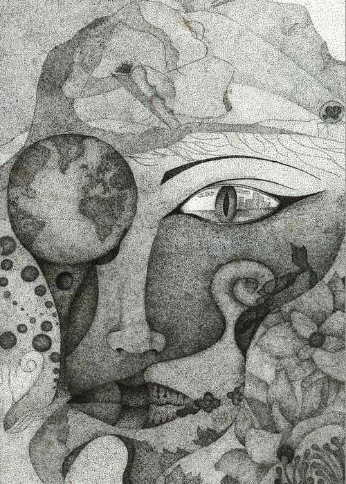 Pointillism Greeting Card featuring the drawing Thinking Of Back-home by Alice Rotaru
