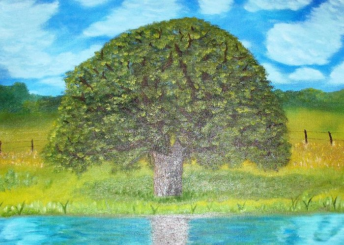 Landscape Greeting Card featuring the painting Thinking Tree by Crystal Mccormick