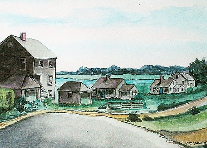 Houses Greeting Card featuring the painting Third Cliff No. 2 by Robert Harvey