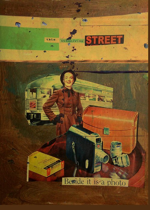 Lady Greeting Card featuring the mixed media This Dissolving Street by Adam Kissel