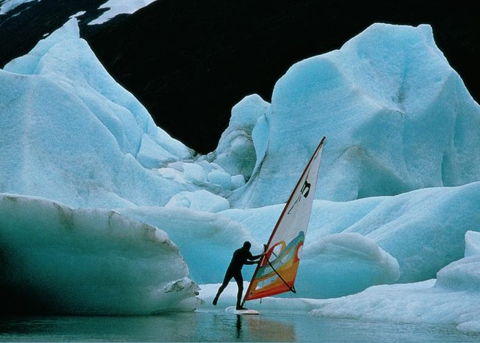 North America Greeting Card featuring the photograph This Windsurfer In Portage Lake by Chris Johns