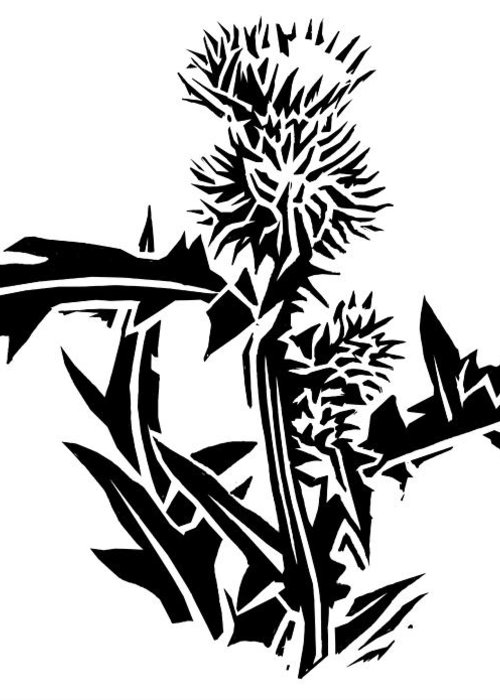 Thistle Greeting Card featuring the photograph Thistle, Lino Print by Gary Hincks