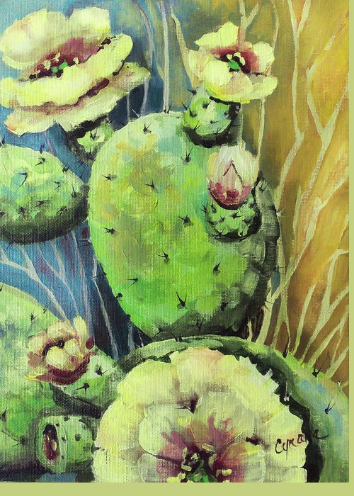 Cactus Greeting Card featuring the painting Those Bloomin' Cactus by Cynara Shelton