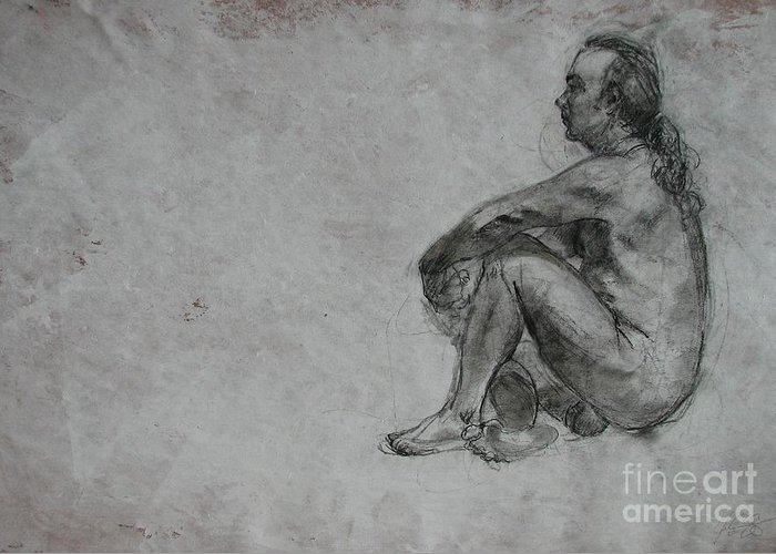 Nude Greeting Card featuring the drawing Thought by Julianna Ziegler