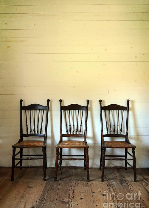 Chair Greeting Card featuring the photograph Three Antique Chairs by Jill Battaglia