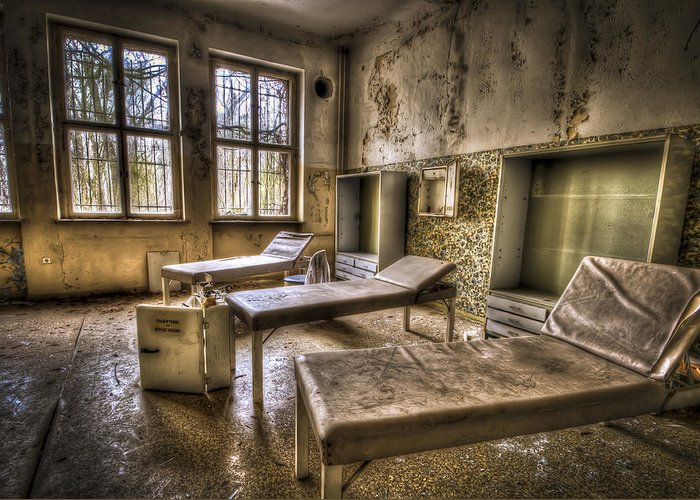 Window Greeting Card featuring the photograph Three Beds Horror by Nathan Wright