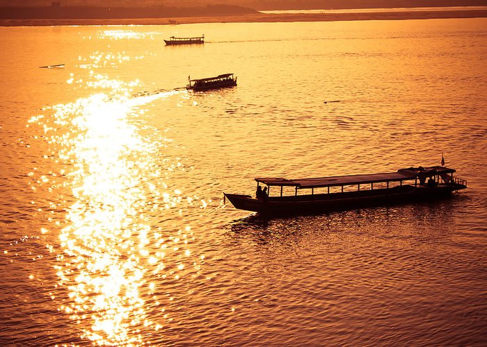 Alone Greeting Card featuring the photograph Three Boat by Natapol Chananuwong