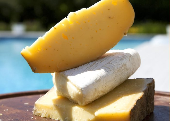 Cheese Greeting Card featuring the photograph Three Cheeses by Federico Arce