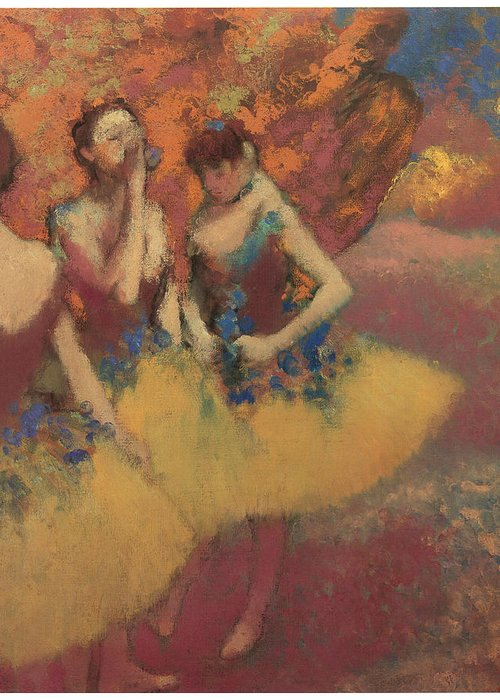 Three Dancers In Yellow Skirts Greeting Card featuring the painting Three Dancers In Yellow Skirts by Edgar Degas