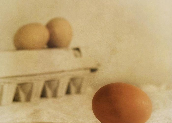 Egg Greeting Card featuring the photograph Three Eggs And A Egg Box by Priska Wettstein