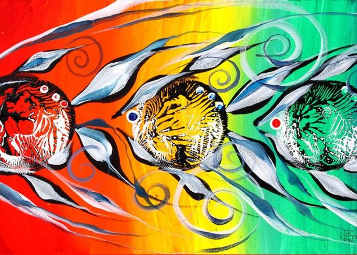 Fish Greeting Card featuring the painting Three In A Row ... Three by J Vincent Scarpace