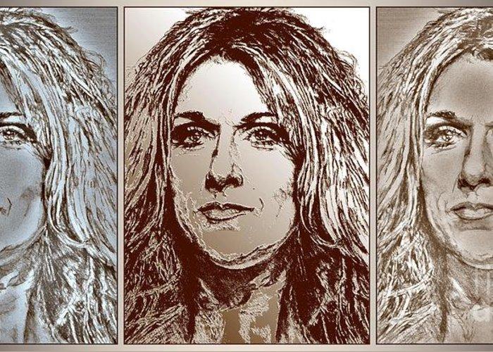 Celine Dion Greeting Card featuring the digital art Three Interpretations Of Celine Dion by J McCombie