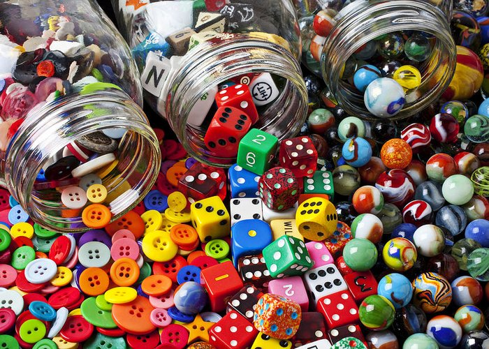 Three Jars Buttons Greeting Card featuring the photograph Three Jars Of Buttons Dice And Marbles by Garry Gay