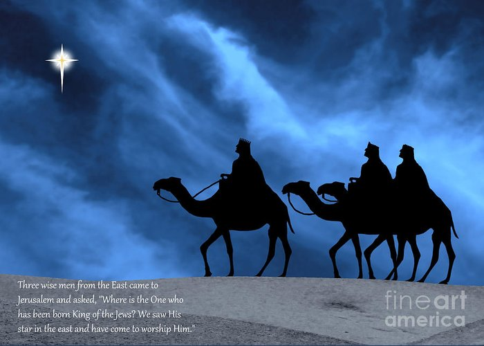 Three Kings Greeting Card featuring the photograph Three Kings Travel By The Star Of Bethlehem - Midnight With Caption by Gary Avey
