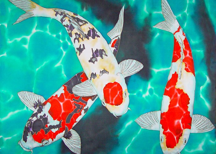 Koi Greeting Card featuring the painting Three Koi by Daniel Jean-Baptiste