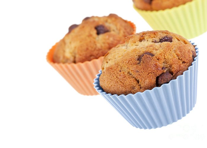 Background Greeting Card featuring the photograph Three Muffins by Jane Rix