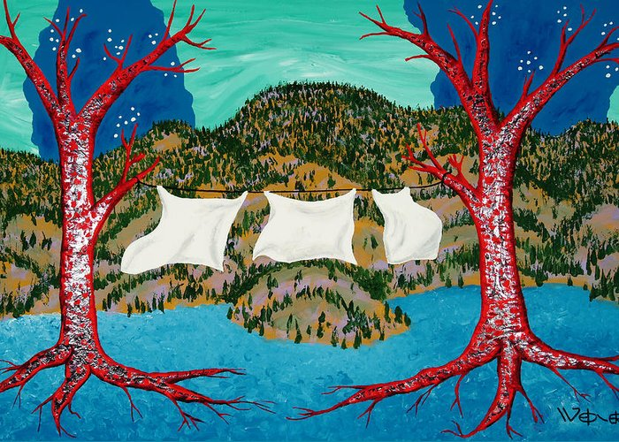 Trees Greeting Card featuring the painting Three Sheets To The Wind by Randall Weidner