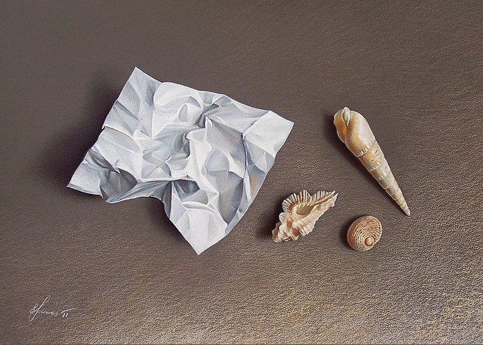 Shells Greeting Card featuring the drawing Three Shells For Collection by Elena Kolotusha