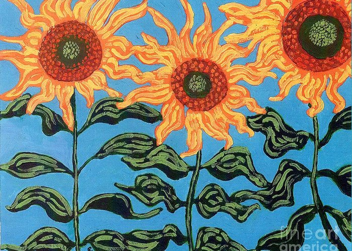 Sunflower Greeting Card featuring the painting Three Sunflowers IIi by Genevieve Esson
