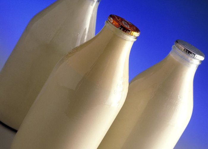 Milk Greeting Card featuring the photograph Three Types Of Bottled Milk by Steve Horrell