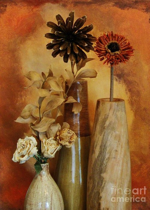 Photo Greeting Card featuring the photograph Three Vases Of Dried Flowers by Marsha Heiken