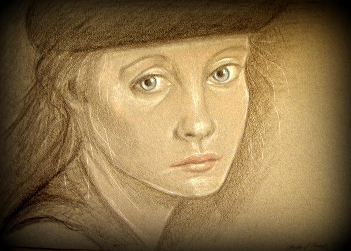 Portrait Greeting Card featuring the drawing Through The Eyes Of Youth by Linda Nielsen