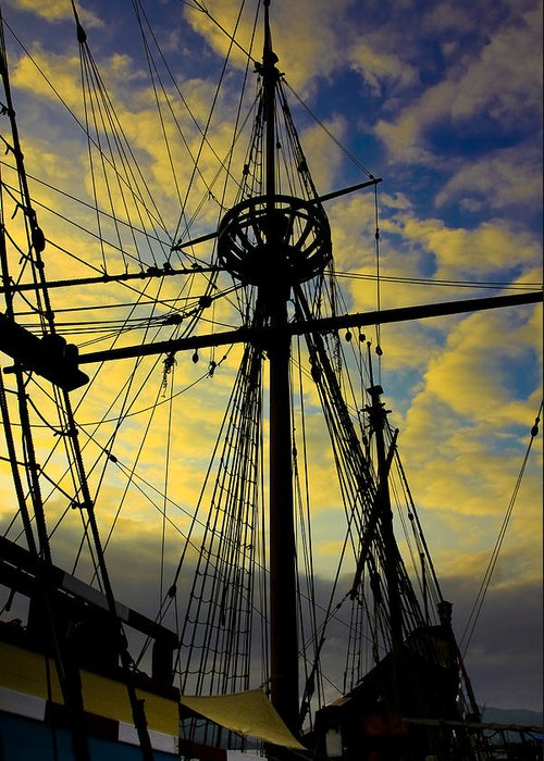 Ship Greeting Card featuring the photograph Through The Rigging by Michael Ray