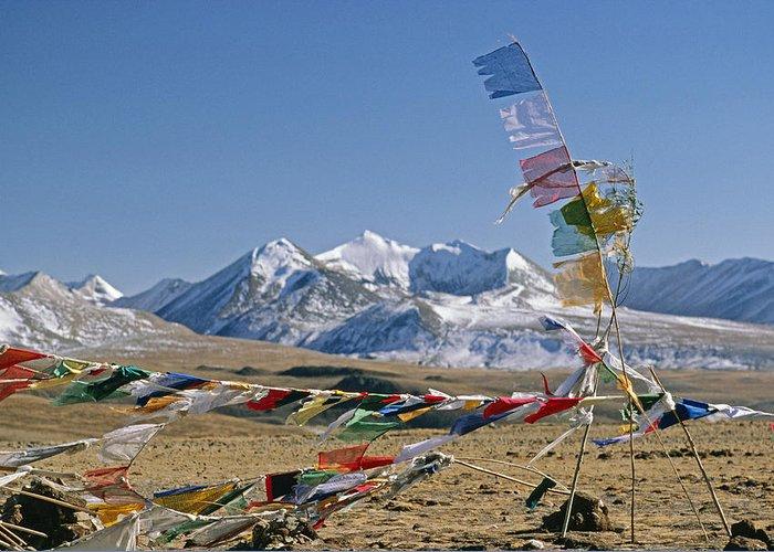 Himalaya Greeting Card featuring the photograph Tibetan Buddhist Prayer Flags Atop Pass by Gordon Wiltsie